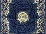 Navy Blue Large area Rug Traditional Persian oriental area Rug Dark Navy Blue Beige Carpet King Design 101 8 Feet X 10 Feet 6 Inch
