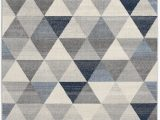 Navy Blue Modern Rug Capodanno Geometric Navy Ivory area Rug