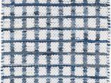 Navy Blue Plaid Rug Denim Rag Squares Plaid Hand Woven Flatweave Blue White area Rug