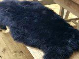 Navy Blue Sheepskin Rug Long Wool Medium Navy Sheepskin Rug