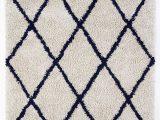 Navy Gray and White area Rug Anji Mountain Silky Shag Ivory Navy Blue area Rug