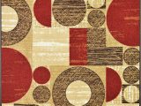 Non Skid area Rugs 5×7 Squares Rubber Backed Non Slip Non Skid Runner area Rugs Red Beige Brown 2 Ft