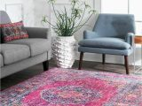 Nuloom Traditional Distressed Medallion area Rug Nuloom New Vintage oriental Distressed Medallion area Rug In Fuchsia Pink