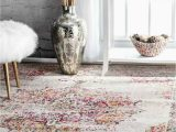Nuloom Traditional Distressed Medallion area Rug Nuloom Traditional Vintage Medallion Distressed area Rug In Pink Grey Yellow