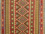 Orange and Green area Rugs Rybicki oriental Handmade Kilim Wool Beige orange Green area Rug