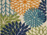 """Ottomanson Royal Collection area Rug Indoor Outdoor Patio Deck Porch area Rug Floral Blue Multicolor 5 3"""" X 7 5"""""""