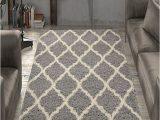 Ottomanson Ultimate Shaggy Contemporary Moroccan Trellis Design area Rug Grey Ottomanson Ultimate Shaggy Collection Moroccan Trellis
