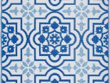 Outdoor Blue and White Rug Avaline Geometric Blue White Indoor Outdoor area Rug