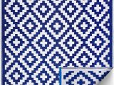 Outdoor Blue and White Rug Fh Home Indoor Outdoor Recycled Plastic Floor Mat Rug Reversible Weather & Uv Resistant Aztec Blue & White 6 Ft X 9 Ft