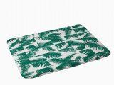 Palm Leaf Bath Rug Palm Leaf Pattern 02 Green Memory Foam Bath Mat the Old Art