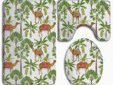 Palm Tree Bathroom Rug Set Gohao Camel Palm Tree Colorful 3 Piece Bathroom Rugs Set