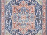 Peach and Blue Persian Rug World Market Rigmar Power Loom Navy Peach Rug