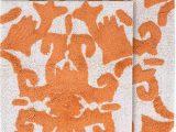 """Peach Bathroom Rug Sets Chesapeake Iron Gate 2pc White & Coral Scroll Bath Rug Set 20""""x32"""" & 23""""x39"""""""