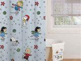 Peanuts Holiday Bath Rug Peanuts Snoopy Holiday Skating Christmas Shower Curtain & Hooks Set