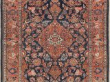 Persian Rug Navy Blue Pre 1900 Navy Blue Floral Kashan Dabir Antique Persian Rug 4×7