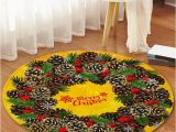 Pine Cone Bath Rugs Christmas Pine Cones Greeting Pattern Round area Rug In 2020