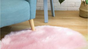 Pink Faux Fur area Rug Ciicool soft Faux Sheepskin Fur area Rugs Fluffy Rugs for Bedroom Silky Fuzzy Carpet Furry Rug for Living Room Girls Rooms Pink Round 3 X 3 Feet