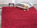 Plush Memory Foam area Rug Unique Loom solo solid Shag Collection Modern Plush Cherry Red area Rug 5 0 X 8 0