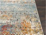 Ragland Modern Geometric Teal area Rug Ragland Distressed Global Teal Saffron area Rug area