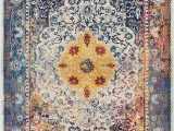 """Red and Blue Modern Rug Chloe Boho 8×11 7 10"""" X 9 10"""" area Rug Medallion Blue Yellow Red Modern Distressed Traditional Vintage oriental"""