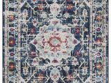Red and Blue Modern Rug Viviana Transitional and Contemporary Medallion Blue Beige Red area Rug