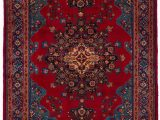 Red and Blue Persian Style Rug Bordered Persian Traditional Style Rug with Cream Navy