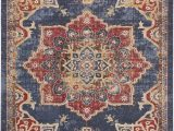 Red and Blue Persian Style Rug Dulin Blue Rust Red area Rug Red area Rug area Rugs