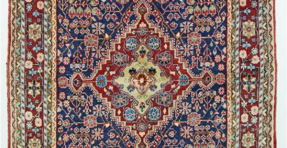 Red and Blue Vintage Rug Vintage Persian area Rug Blue Red Rug 4 X 6