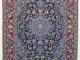 Red and Blue Vintage Rug Vintage Persian isfahan area Rug Fine Wool and Silk Rug Blue Red 3 X 5