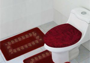 Red and Gray Bathroom Rugs 3pc Bathroom Set Rug Contour Mat toilet Lid Cover In Home