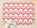 Red and White Bath Rug Red & White Heart