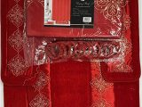 Red Bath Rug Set 4 Piece Bathroom Rugs Set Non Slip Red Gold Color Bath Rug toilet Contour Mat with Fabric Shower Curtain and Matching Rings Daisy Red