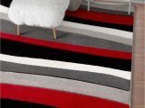 Red Black Grey area Rugs Temptation Waves Stripes Red Grey Ivory Modern Geometric Hand Carved area Rug