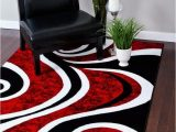 Red Black White area Rug 0327 Red Black Swirl White area Rug Carpet 5×7 Modern Abstract
