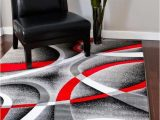 Red Black White area Rug 2305 Gray Black Red White Swirls 5 2 X7 2 Modern Abstract area Rug Carpet by Persian Rugs