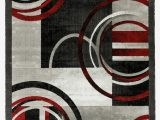Red Black White area Rug Delana Abstract Gray Red Black area Rug