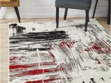 Red Black White area Rug Metro 603 Abstract Rug Red Black White Grey