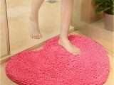 Red Fluffy Bathroom Rugs Adeeing Red Heart Love Microfiber Chenille soft Fluffy Rug
