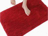 Red Fluffy Bathroom Rugs Red Bath Mat Amazon Co Uk