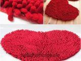 Red Fluffy Bathroom Rugs Red Heart Love Chenille soft Fluffy Rug Floor Door