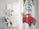 Red Truck Christmas Bath Rug Christmas Red Truck with Tree Shower Curtain Bath Mat