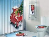 Red Truck Christmas Bath Rug Prtau Christmas Red Classical Pickup Truck with Tree Gifts