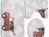 Red Truck Christmas Bath Rug Pudmad Merry Christmas Red Truck 3 Piece Bathroom Rugs Set