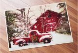 Red Truck Christmas Bath Rug Retro Red Truck and Winter Barn Christmas Bathroom Rug