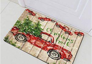 Red Truck Christmas Bath Rug Rustic Wooden Planks Christmas Retro Red Truck Bathroom