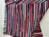 """Red White and Blue Braided Rugs Red White and Blue Rag Rug Loom Woven """"recycled"""