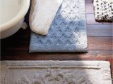 Removable Memory Foam Bath Rug Everly S Overtufted Damask Design and Piqué Background Lends
