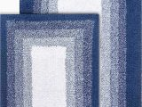 "Reversible Bath Rug Sets Chesapeake Merchandising Whitney Reversible 2 Piece Bath Rug Set 21"" X 34"" & 17"" X 24"" Deep Denim"