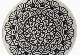 "Round Black Bath Rug Black Mandala Round Home Decor Rug soft Bath Mat Eco Friendly Gift for Her 2 Different Diameters 39"" and 55"""