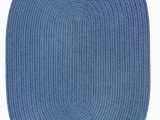 Round Blue Braided Rug Indoor Outdoor solid Blue area Rug Braided Textured Design 6ft X 6ft Round Reversible Carpet